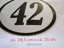 Hausnummer Oval Emaille  schwarze Nr. 42  weißer Hintergrund 19 cm x 15 cm
