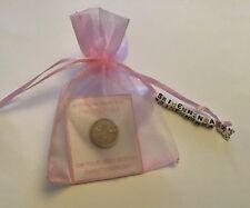 PERSONALISED LUCKY SIXPENCE - BABY GIRL CHRISTENING DAY GIFT with Charm