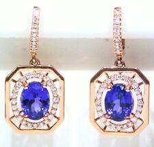 4.47CT 14K Gold Natural Tanzanite Diamond Vintage AAAA Drop Engagement Earrings