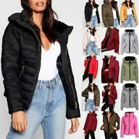 Ladies Coat Padded Fur Collar Zip Puffer Bubble Womens Quilted Up Thick Jacket