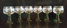 Antique Etched clear Glass Grape Pattern Green Beehive Stem Wine Glasses Hocks