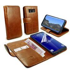 Tuff Luv Personalizado Funda de Piel Genuina y Soporte Para Galaxy S8-Brown