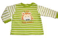 Niedliches Langarm Shirt Gr. 56 / 62 grün-weiß geringelt mit Löwen Applikation !