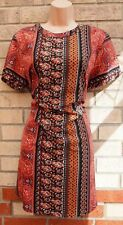 BOOHOO CORAL TERRACOTTA PAISLEY BLACK SILKY FEEL TUNIC SMOCK SHIFT DRESS 16 XL