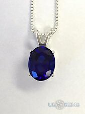 925 Sterling Silver pendant created 3 ct. Sapphire Blue Dark Chain Necklace. @