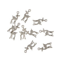 cute deer Tibetan Silver Bead charms Pendants fit bracelet 10pcs 20*10mm