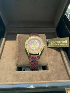 Roberto Cavalli Watch By Frank Muller Red Mother of Pearl Dial Ladies Leather