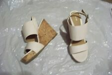 womens apt 9 bensen white double strap wedge heels shoes size 7 1/2