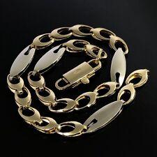 STYLISH Italian Solid 18K 750 Yellow & White Gold Fancy Link Chain Bracelet