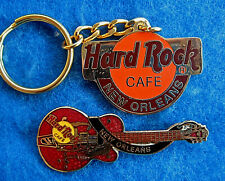 NEW ORLEANS LOGO KEYCHAIN & EDDIE COCHRAN CHET ATKINS GUITAR Hard Rock Cafe PIN