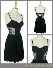 TOPSHOP sexy black lace corset stappy sweetheart  party skater dress 8 36 Us 4