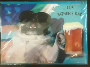 PAPYRUS Father's Day Card:  Bulldog with Aviator Glasses & Beer Lap Up Downtime