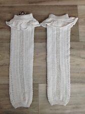 Matilda Jane Girls Leg Warmers fold over Ruffle Cream Knitted