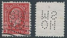 Scott OA197 Position C: 3c Red KGV Medallion 5-Hole OHMS Perfin Official, VF