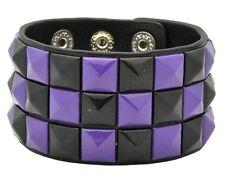 "Black Leather 9"" Bracelet-Brand New! Black+Purple triple row Checkered Studded"
