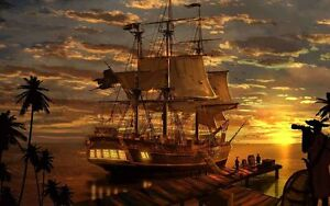 Home Art Wall Decor Artwork Pirates Ship Boat Oil painting Printed on canvas