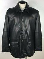 Men's Calvin Klein Black Soft 100% Leather Jacket Size Large L Classic Casual