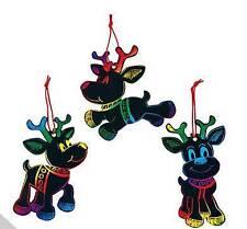 3 Reindeer Scratch Art Ornaments Kit Craft Christmas