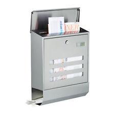 Briefkasten Edelstahl mit Zeitungsfach & Namensschild Sichtfenster Postkasten