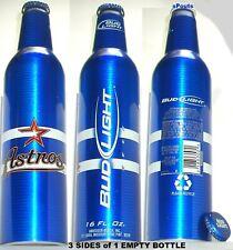 2007 HOUSTON ASTROS MLB BASEBALL STAR BUD LIGHT ALUMINUM BOTTLE BEER TEXAS CAN