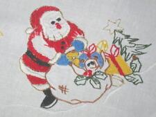 Santa & Christmas Church! Vtg German Tablecloth With Fancy Cutwork