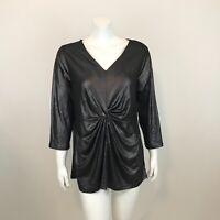 Alfani Metallic Twist Front Top Shirt Womens Plus Size 1X  3/4 Sleeve V Neck