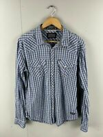 Republic Men's Long Sleeve Western Shirt Pearl Snap Buttons Size M Blue Check