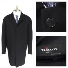 $6499 NWT KITON Solid Black 100% Cashmere 4Btn Car Coat Jacket 56 46 2XL XXL