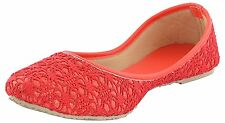US 9 Indian HandmadeTraditional Mojari In Red Color For Women Khussa Flat