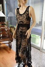 LIM'S BEAUTIFUL ALL HAND MADE CROCHET MAXI DRESS BLACK  FITS SMALL to MEDIUM