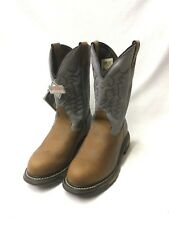 Ladies Rocky Work Boots-Brown Round Toe w/Powder Blue Tops, Style 4227