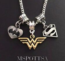 Wonder Woman Superman Batman Necklace DC Comics Justice League European Charms