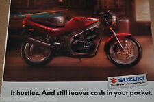 1992 SUZUKI Motorcycle advertisement, Suzuki GS500E bike, pool table sports bar