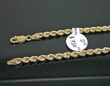 10K Men's Yellow Gold Thick Rope Bracelet 3mm 9 Inches Long #A2B5