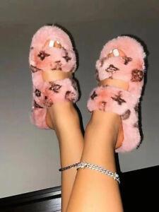 Lovely Women's Open Toe Warm Furry Shoes Casual Sandals Homewear