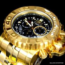 Invicta Sea Hunter Gen II 70mm 18k Gold Plated Chronograph Swiss Black Watch New