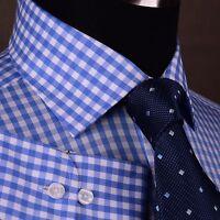 Blue Gingham Checkered Dress Shirt Mens Plaids & Checks Formal Business Fashion