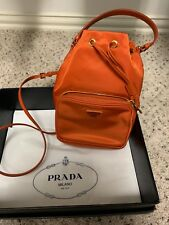 Prada Nylon Bucket Bag Crossbody Purse Orange