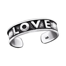 Tjs 925 Sterling Silver Toe Ring Word Love Writing Adjustable Body Jewellery
