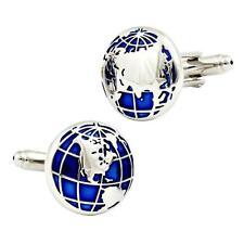 WORLD MAP CUFFLINKS Globe Traveler Travel Blue Silver NEW w GIFT BAG Groom Dad