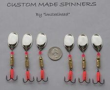 1 Lot of 6 Custom Trout Pike Steelhead #3 Nickel French Blade Spinners 1/4 O. Ea