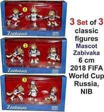 3 Set of 3 classic figures Mascot Zabivaka 6 cm 2018 FIFA World Cup Russia, NIB