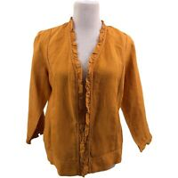 Chico's Size 1 Solid Gold Ruffle Trim V-Neck Linen Open Front Jacket 3/4 Sleeve