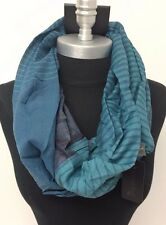 Mens Fashion Infinity Circle Scarf Soft Neck Cowl Wrap Striped Teal blue