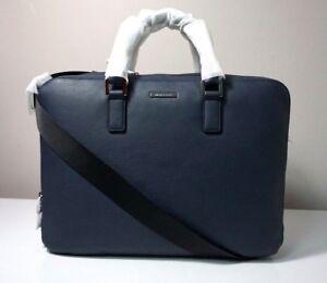 Michael Kors Men's Stephen Leather Navy Large Double Gusset Briefcase Bag