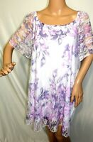 Brittany Black Women Plus Size 2x Purple  Mesh Floral White Top Blouse Shirt