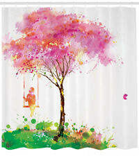 Blossom Tree and Girl on Swing Artsy Watercolor Effect Art Shower Curtain Set
