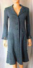 NANETTE LEPORE Vintage* Blue Virgin Wool Blend Fit & Flare Coat, Crochet Cuffs,S