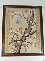 Vintage Chinese Silk Embroidery Signed Bird Flowers Tree Needlepoint GUC
