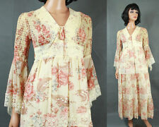 70s Bell Sleeve Dress XS Vintage Hippie Wedding Gown Ivory Pink Floral Cotton